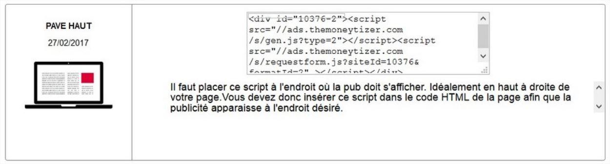 Exemple de code à insérer sur son site