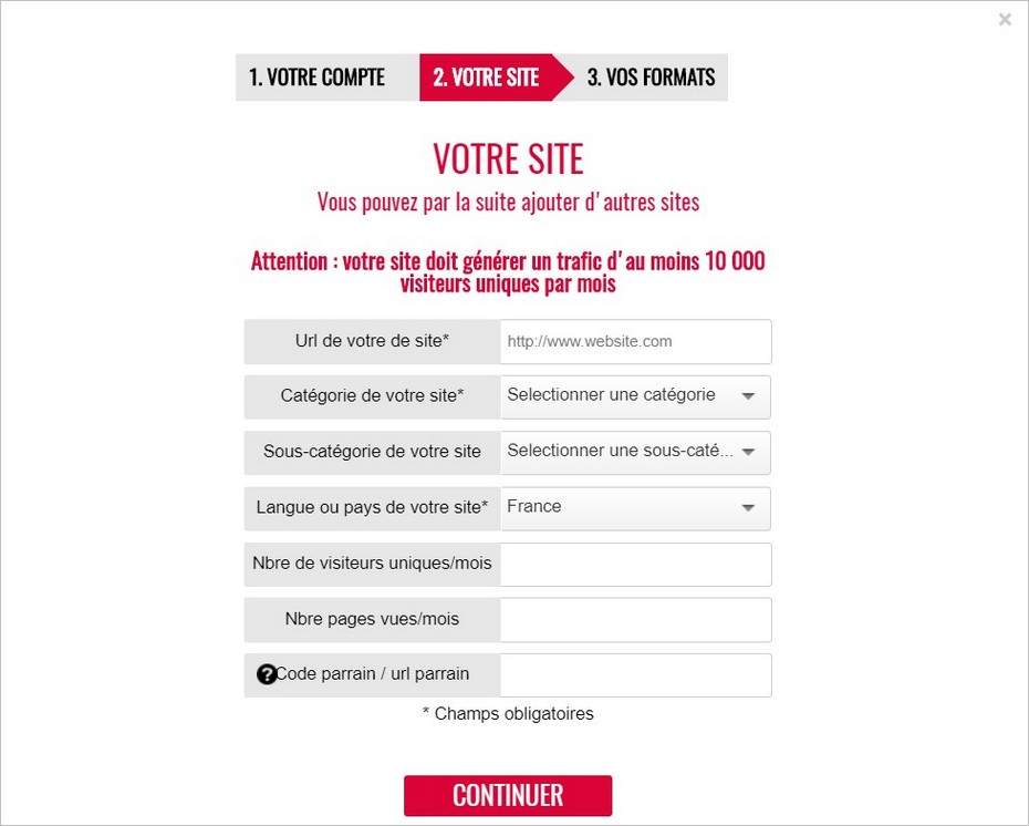 Inscription d'un site sur The Moneytizer