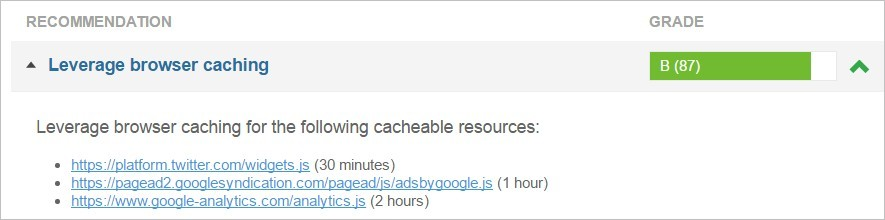 Leverage Browser Caching (à tes souhaits)