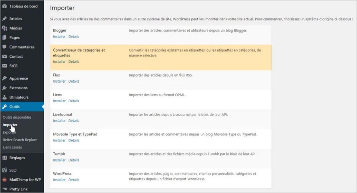 Le convertisseur catégories-étiquettes intégré à WordPress