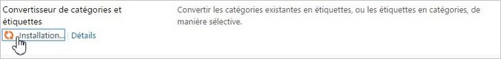 Installation du convertisseur catégories-étiquettes
