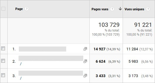 Pages vues sur Analytics