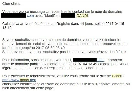 Mail de renouvellement d'un nom de domaine