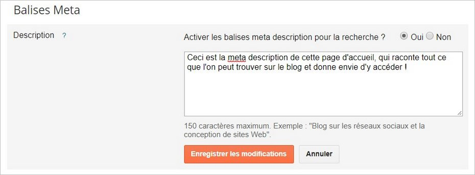 Meta description sur Blogger