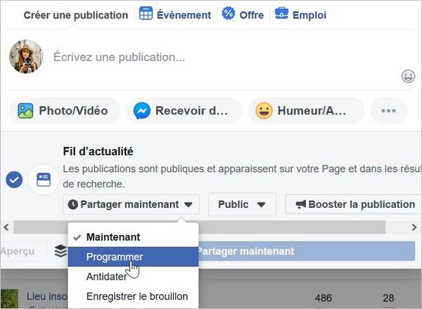 Programmer des publications sur Facebook