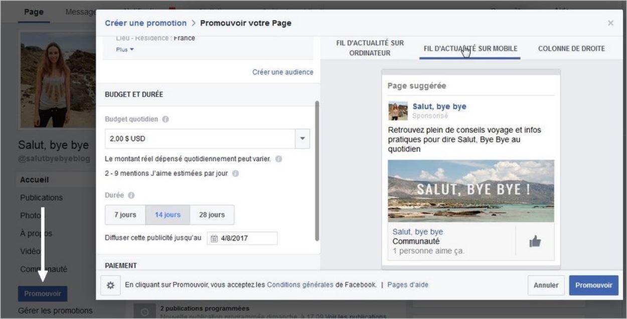 Promouvoir une page Facebook