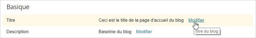 Le title principal d'un blog Blogger