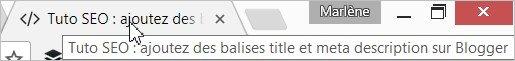 Le title affiché sur l'onglet du navigateur