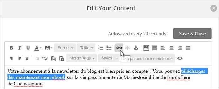 Créer un lien de téléchargement sur MailChimp