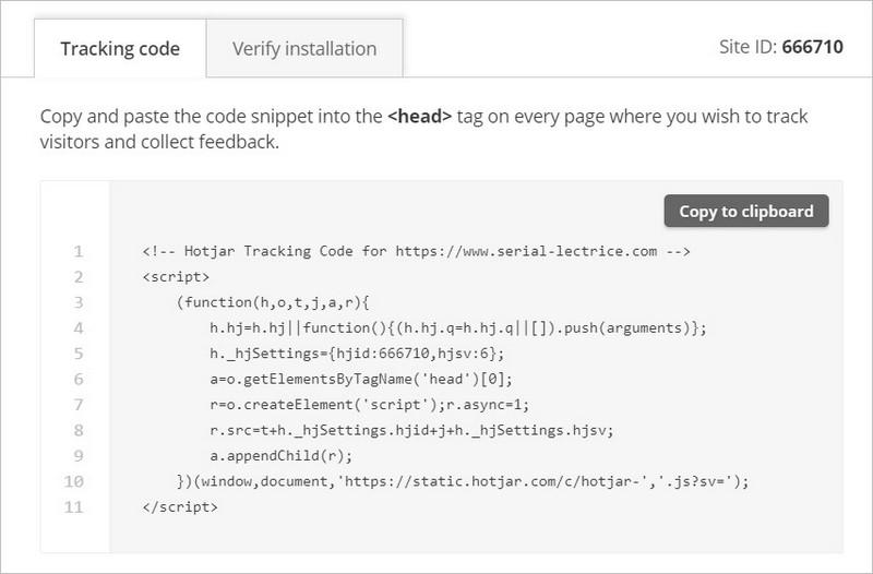 Code de tracking Hotjar