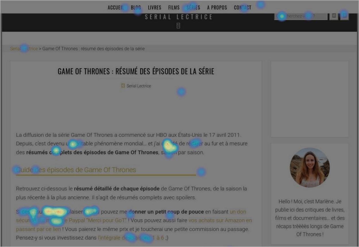 Une heatmap sur desktop avec Hotjar