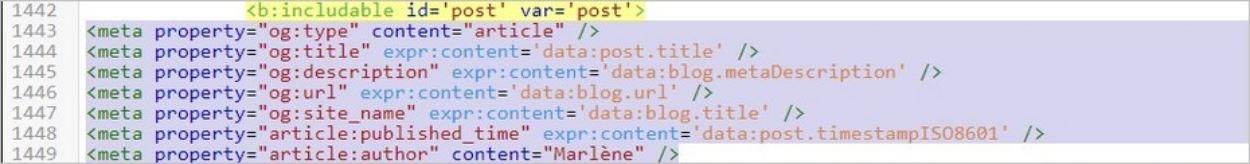 Ajout du balisage Open Graph sur Blogger