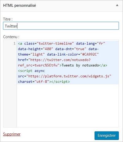 Copiez le code du widget Twitter