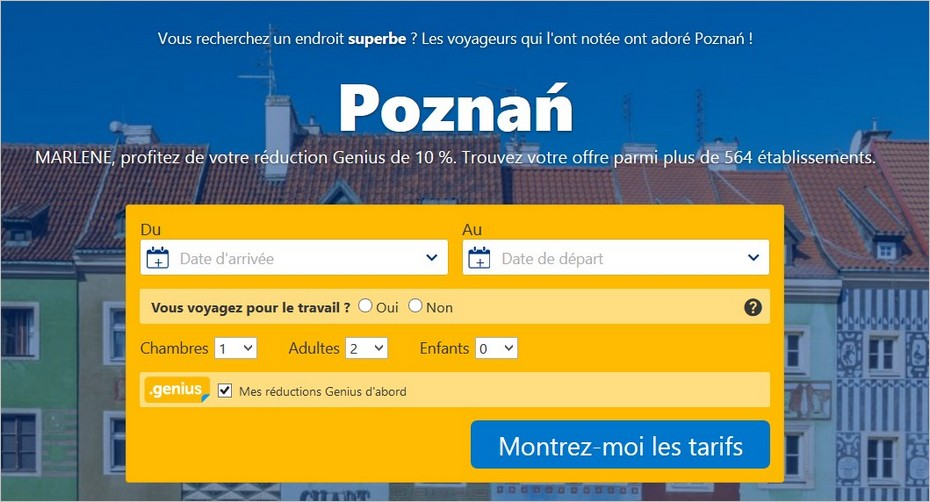 CTA du site Booking.com