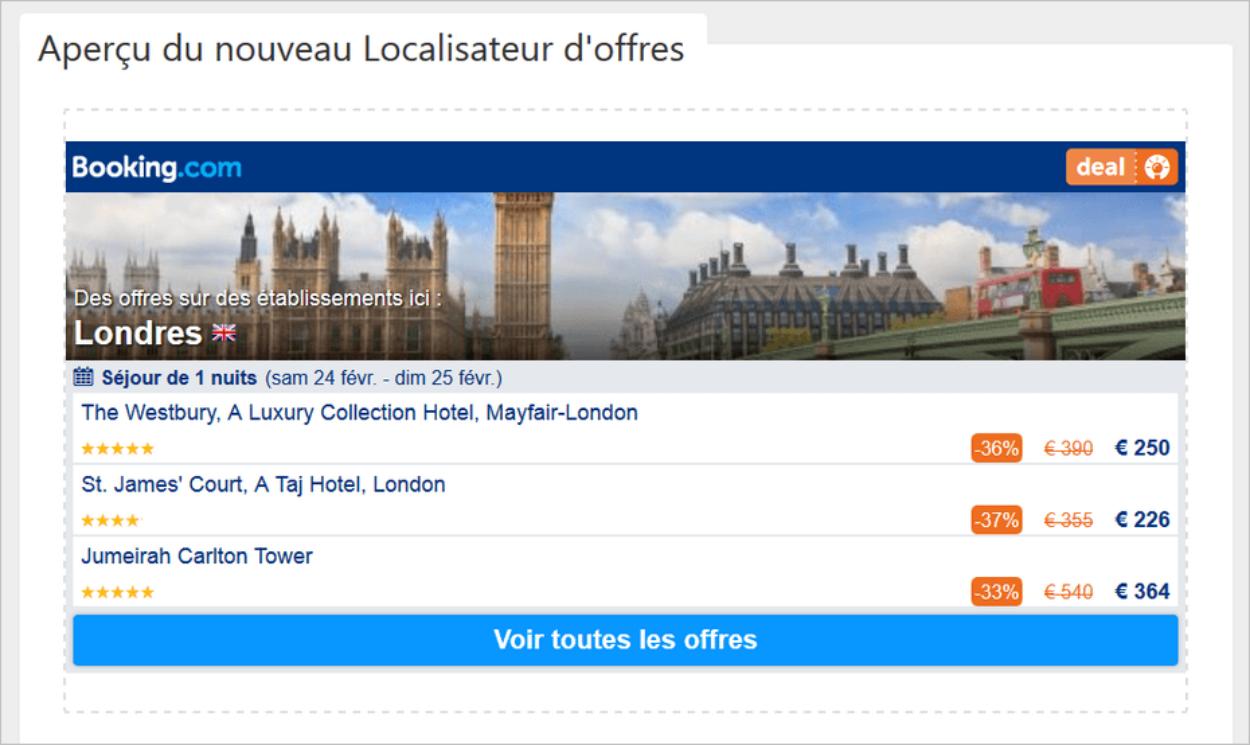 Localisateur d'offres sur Booking