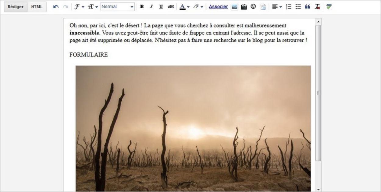 Page 404 avec moteur de recherche sur Blogger