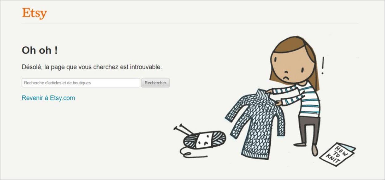 La page 404 du site Etsy