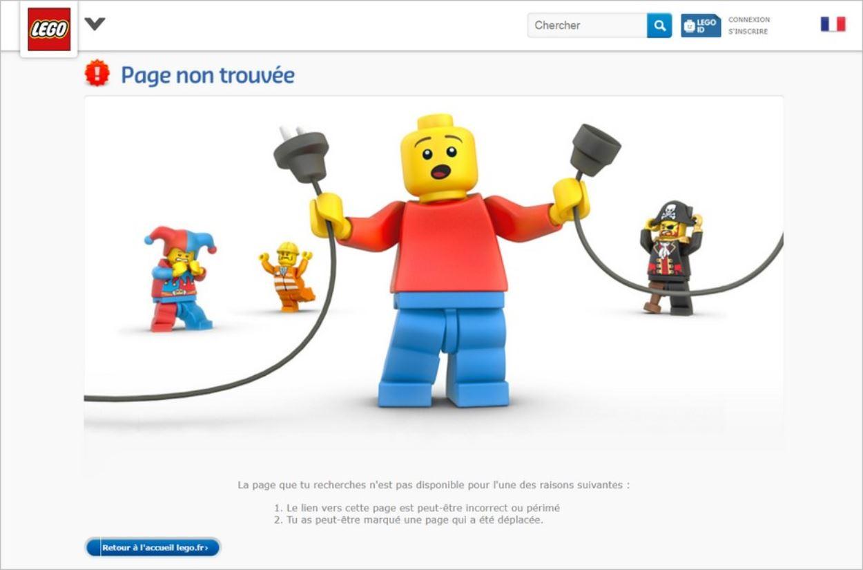 La page 404 de Lego