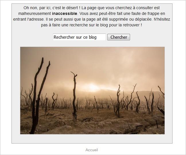 Rendu de la page 404 sur Blogger