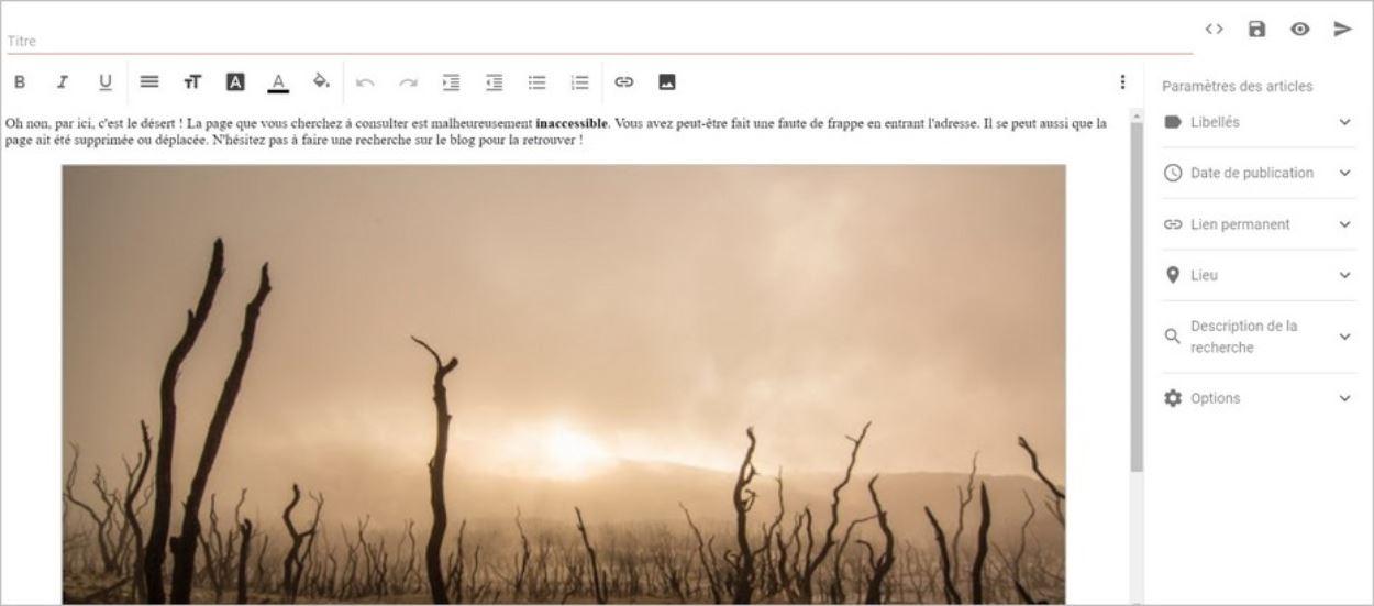 Message d'erreur 404 personnalisé sur Blogger