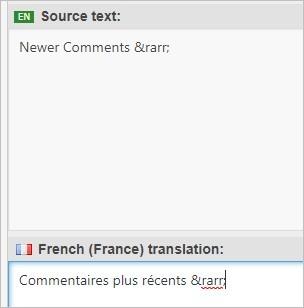 Un caractère spécial dans la traduction