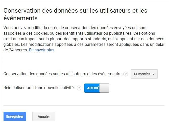 Conservation des données sur Google Analytics