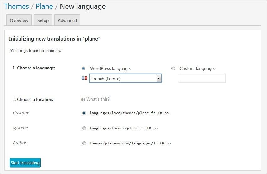Créer une langue de traduction