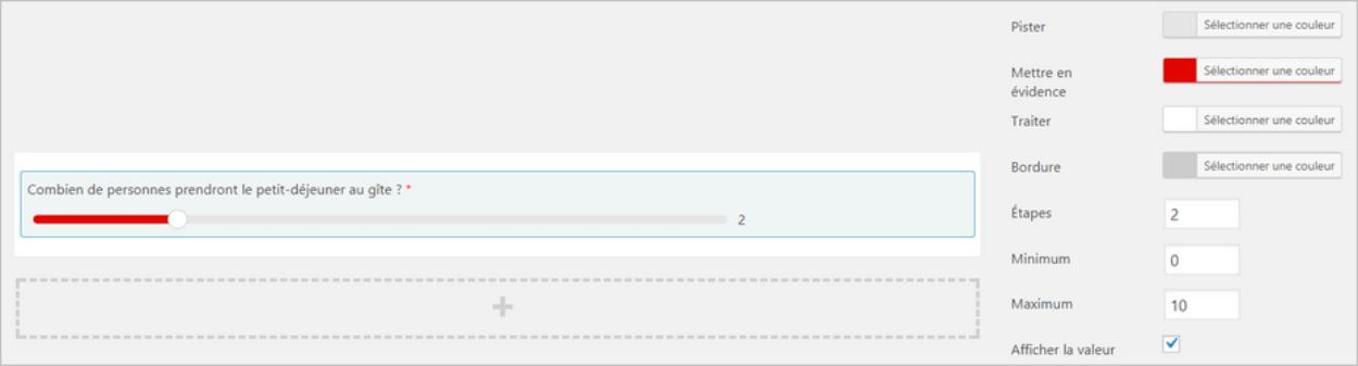 Curseur de valeur sur un formulaire Caldera Forms