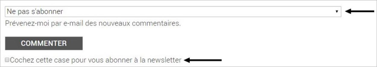 Pas d'abonnement par défaut - GDPR sur un blog