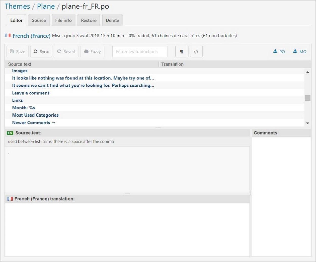 Interface de traduction d'un thème WordPress