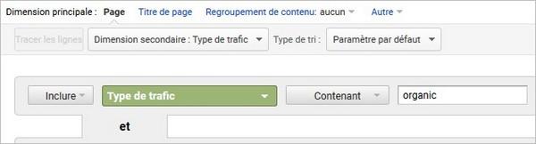 Type de trafic - Organique