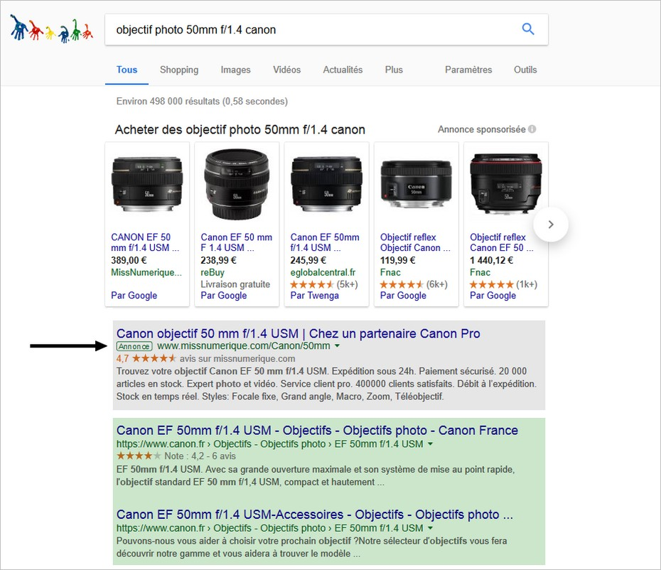 Organic et paid search sur Google