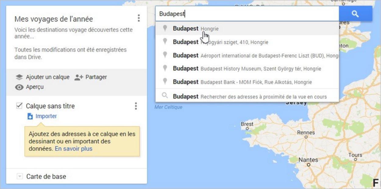 Ajouter un lieu à une carte Google Maps