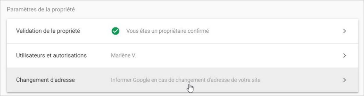 Outil de changement d'adresse Google