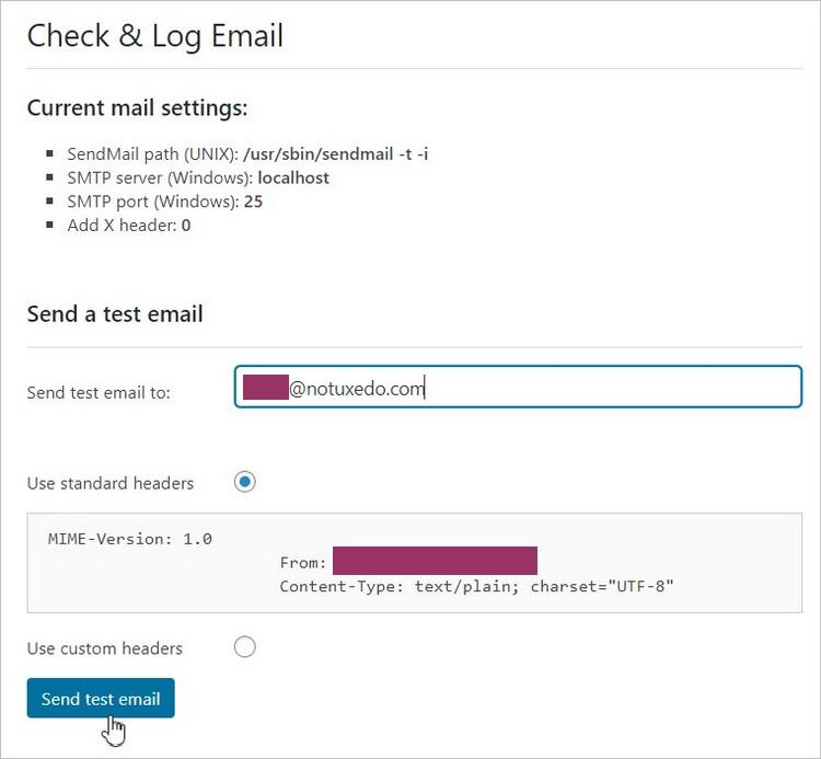 Check & Log Email - Envoi d'un email test sur WordPress