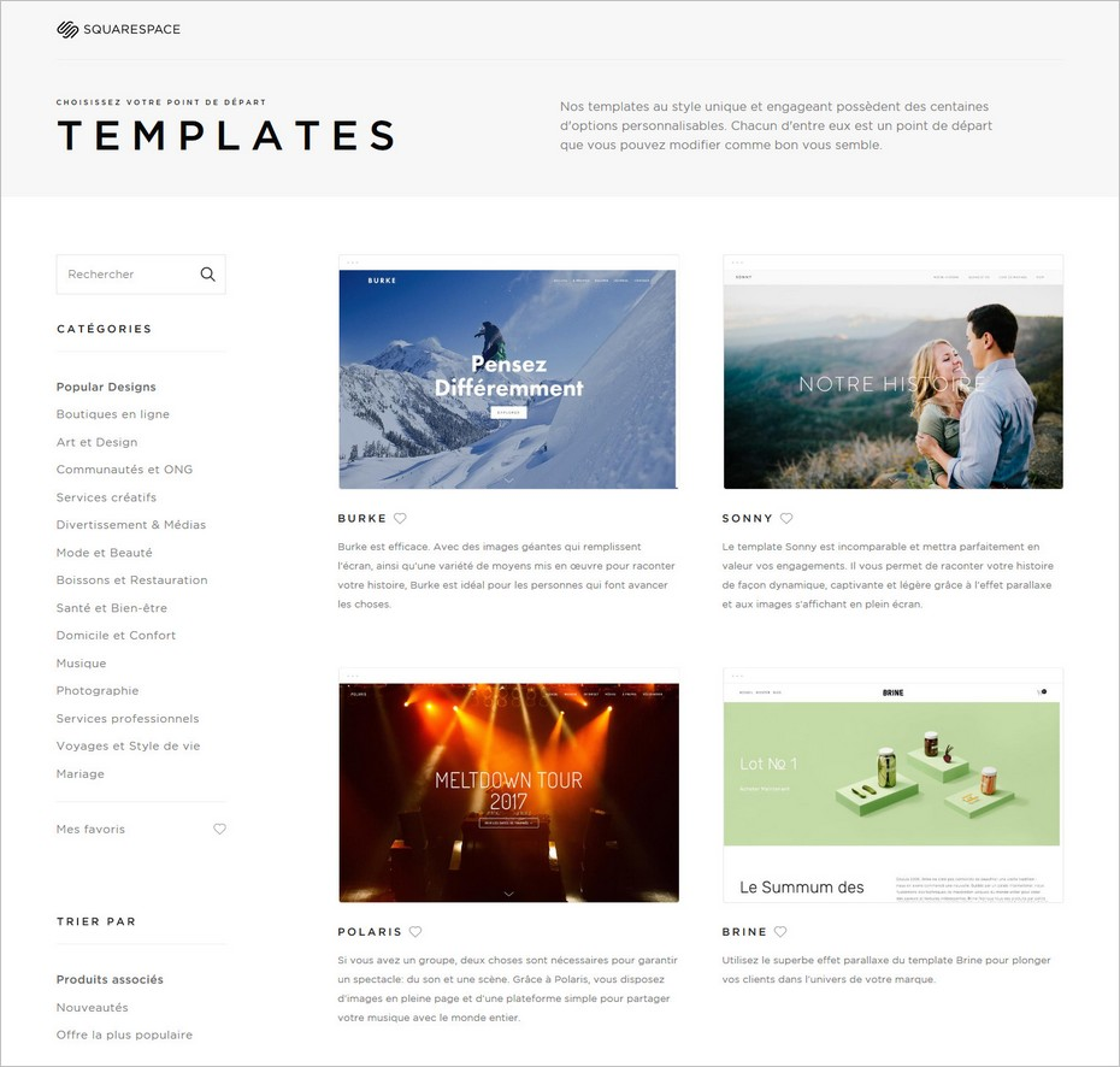 Choisir un template Squarespace