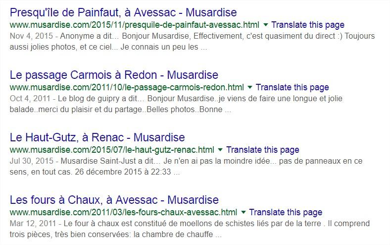 Musardise sur Google