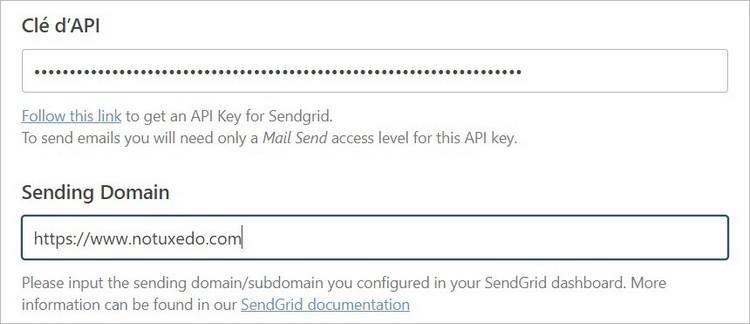 Configuration de Sendgrid