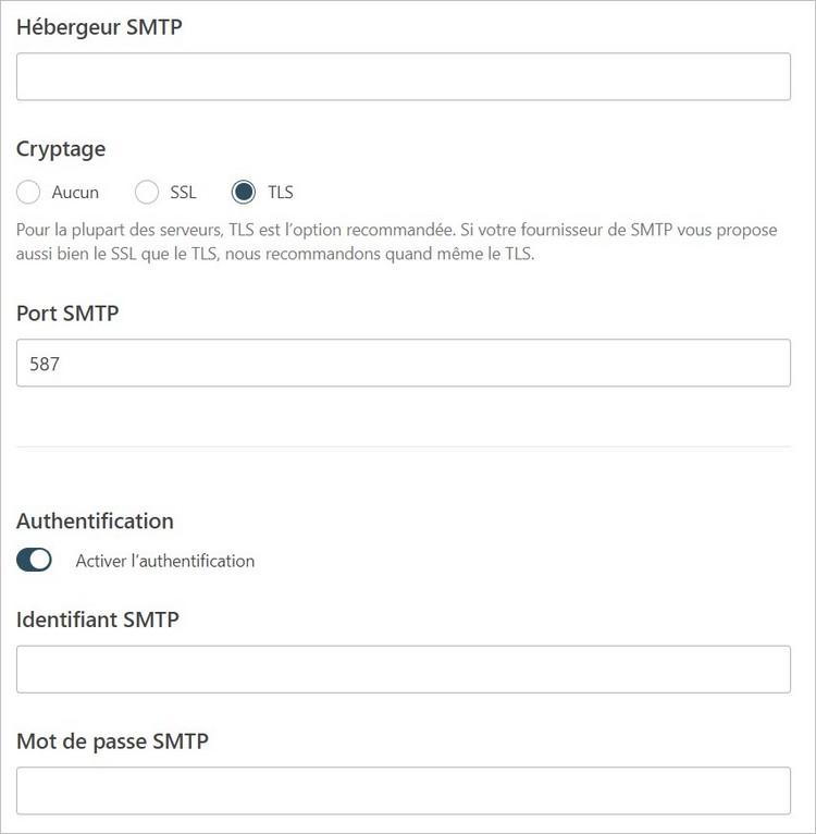 Informations SMTP à renseigner