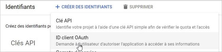 Créer un ID client OAuth
