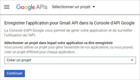 Créer un projet sur l'API Gmail