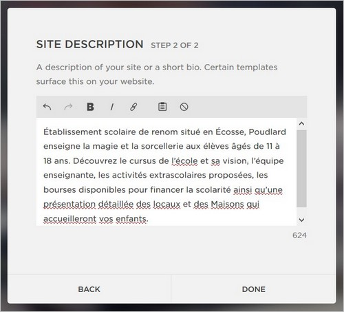 Description du site sur la plateforme Squarespace
