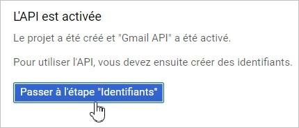 Identifiants sur l'API Gmail