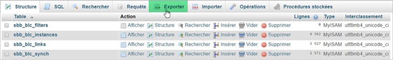 Exporter sa base de données