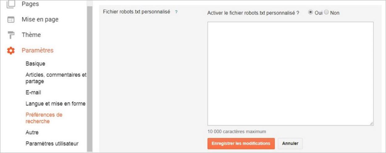 Fichier robots.txt personnalisé sur Blogger