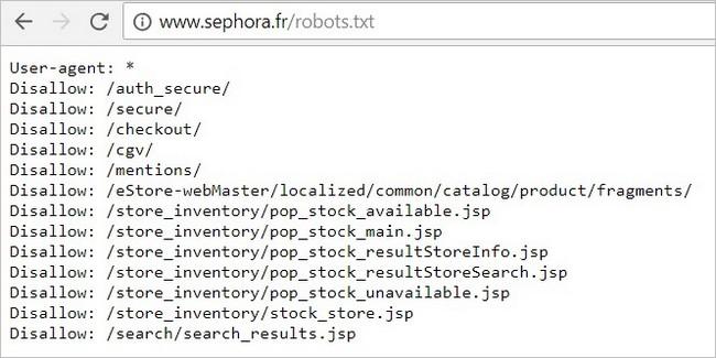 Le fichier robots.txt du site Sephora