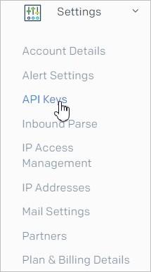Menu API Keys sur Sendgrid