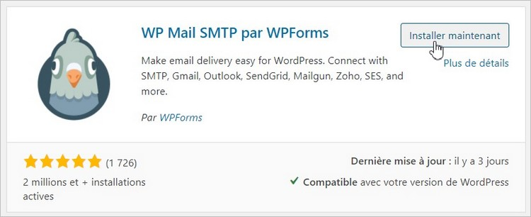 Plugin WP Mail SMTP pour WordPress