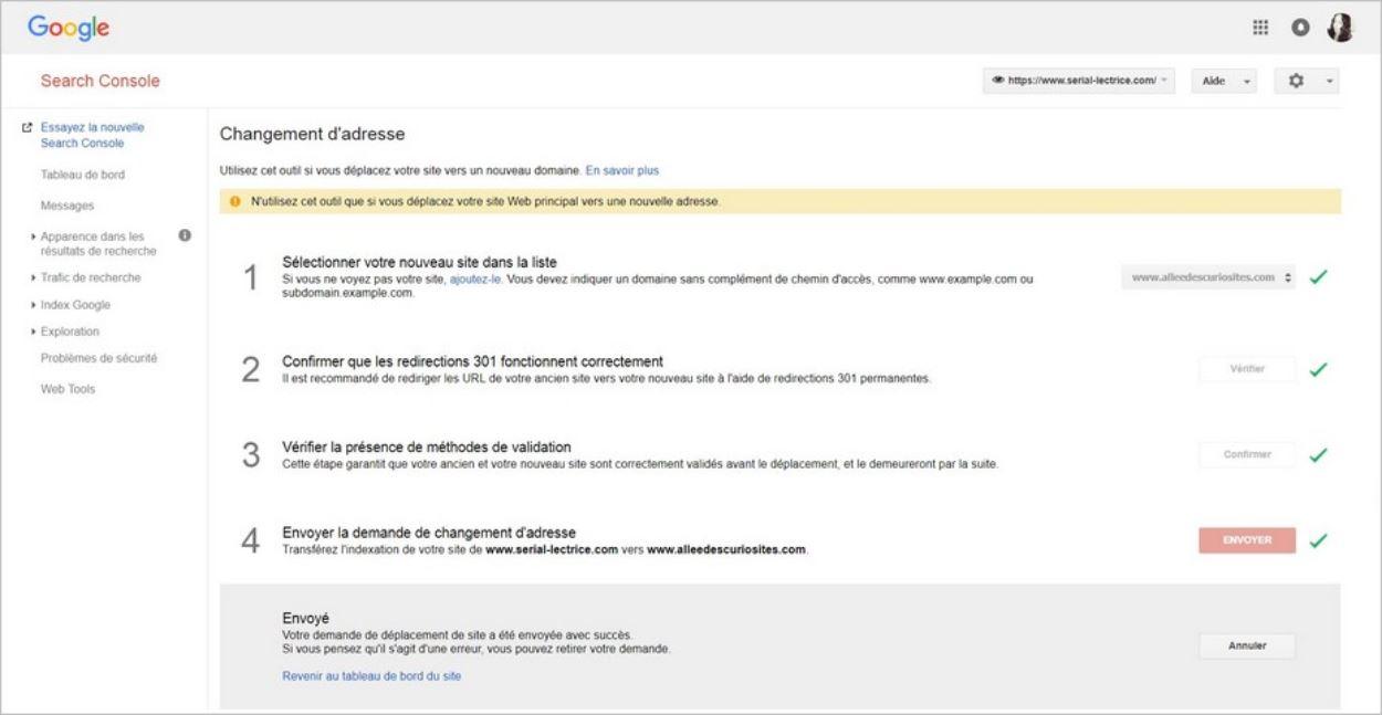 Procédure de changement d'adresse - Google Search Console