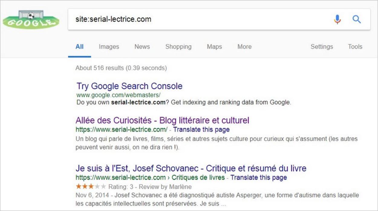 Commande site: sur Google
